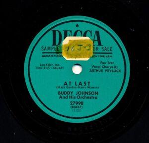 R-amp-B-78-BUDDY-JOHNSON-with-ARTHUR-PRYSOCK-on-1952-Decca-27998-At-Last