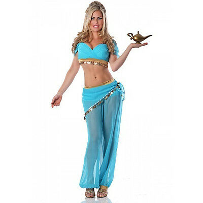 Princess Jasmine Costume Womens Cosplay Blue Dress Belly Fancy Dancewear Suit