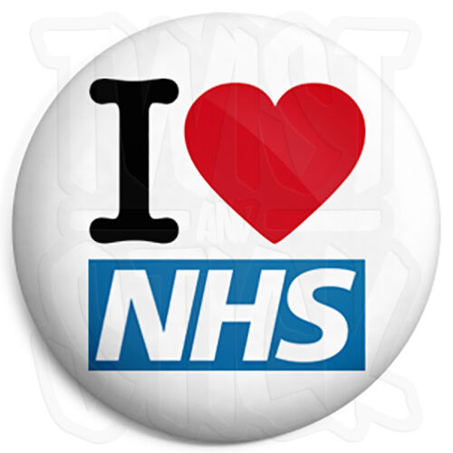 25mm Heart Button Badge with Fridge Magnet Option I Love The NHS