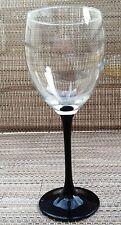 "Wine Goblet Clear &  Black 7 1/4"" CRIS D'ARQUES/LUMINARC DURAND DOMINO Glass"