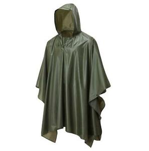 1846b442b5a08 Image is loading GENTS-WATERPROOF-OLIVE-PONCHO-lightweight-hooded-camping- hiking-