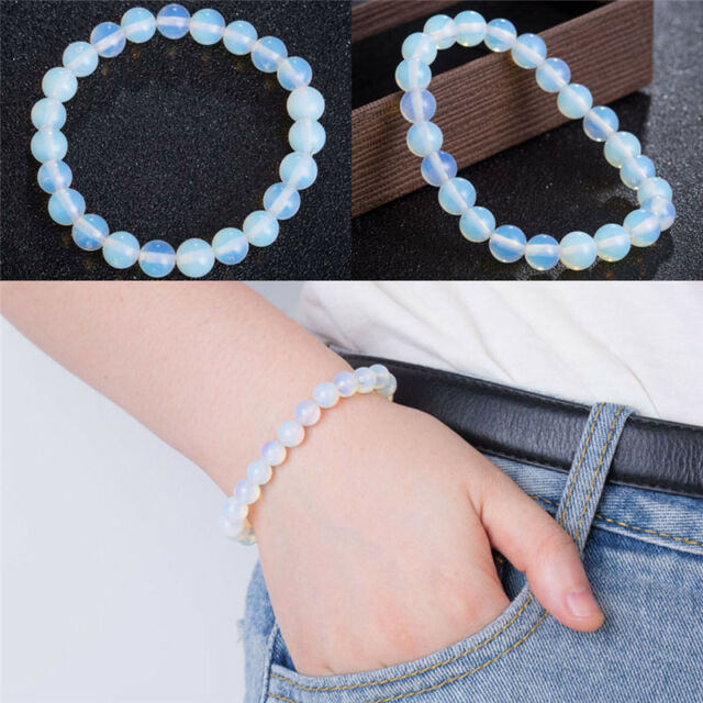 8mm Round Crystal Moonstone Natural Stone Stretched Beaded Bracelet for WomenG&T