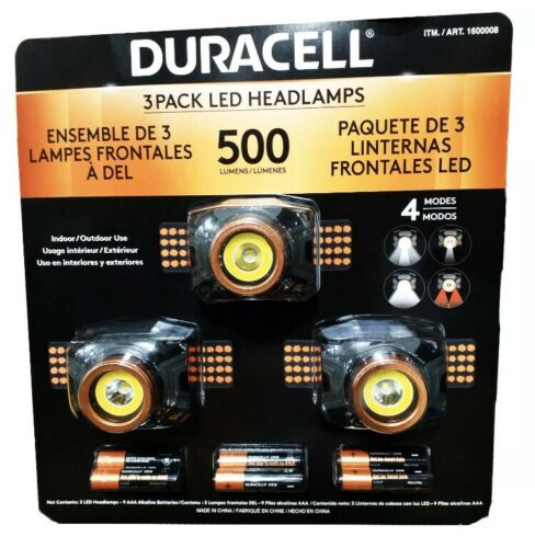 3 Pack Duracell LED Headlamps 500 Lumens Includes Batteries Head Torch