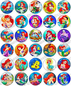 30 X The Little Mermaid Ariel Edible Rice Wafer Paper Cupcake