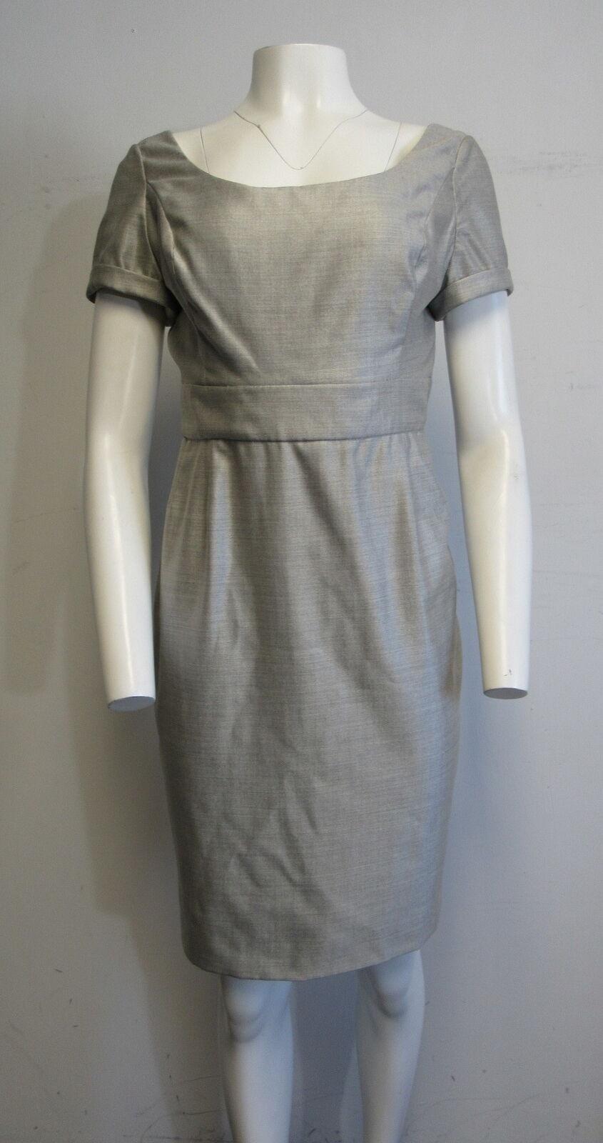 BILL BLASS heatherot grau short-sleeve scoop-neck straight cut dress sz 8