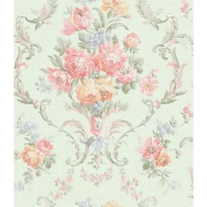 Wallpaper-Designer-Pink-Cream-Yellow-Blue-Green-Floral-Scroll-Damask-on-Green