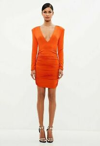 Missguided-Peace-Love-Orange-Ruched-Plunge-Neck-Midi-Bodycon-Dress-UK-10