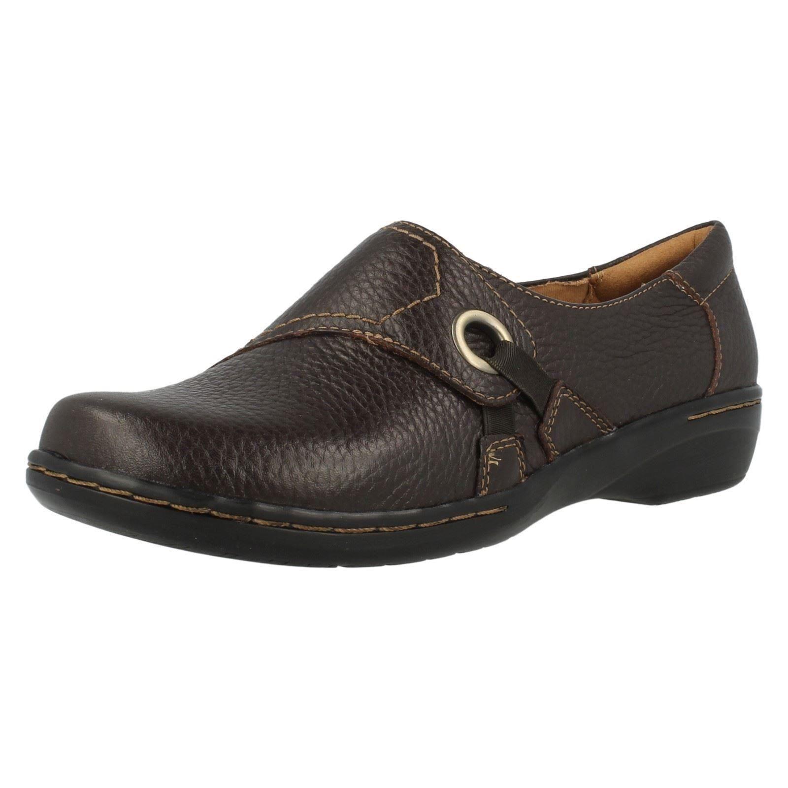 Clarks' evianna Boa ' Damen braun Leder Slipper Bequem Schuhe D PASSFORM UK 9