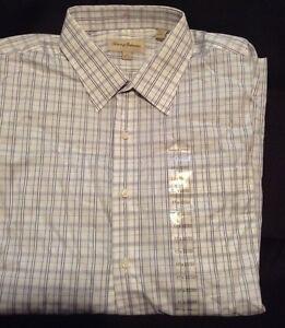 New-Tommy-Bahama-Mens-Dress-Shirt-Long-Sleeve-Grey-White-Size-17-32-33