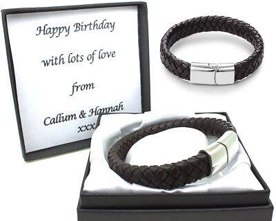 Mens Bracelet Black Leather FREE Engraving Personalised Valentines Birthday Gift