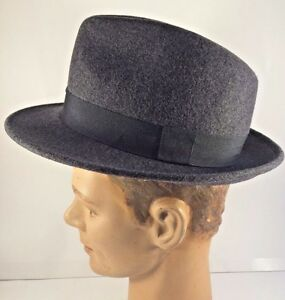 f9b254d49ea Vintage Chicago Style Gangster 1950 s Gray Fedora Wool Hat Made in ...