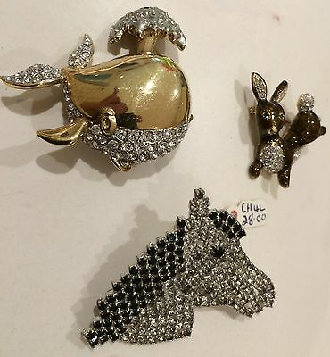 Vintage 1980s Attwood & Sawyer Fabulous Brooches Job Lot 5 - Whale Horse Rabbit