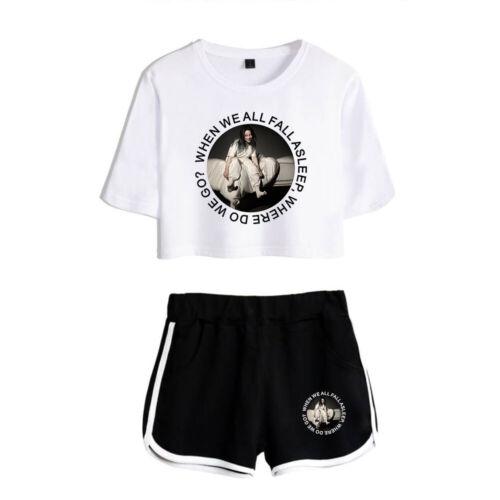 2Pcs Billie Eilish Rapper Womens Girls Crop Top T-shirt+Shorts Loungewear Co Set