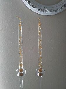 Vintage clear acrylic Lucite candlesticks gold flecks decorative faux candles