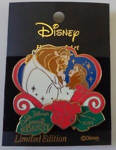 Disney-History-of-Art-Beauty-amp-Beast-1991-Sparkle-Glitter-3D-Pin-Le-1500
