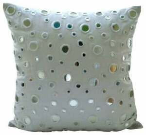 Accent Pillow Cover 14x14 inch White Handmade, Cotton Mirror - White Mirrors