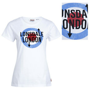 Lonsdale-Ladies-Womens-Target-White-T-Shirt-100-Cotton-Mod-Fulford