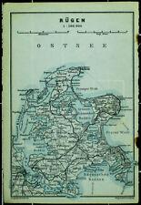 RÜGEN, alte farbige Karte, datiert 1914