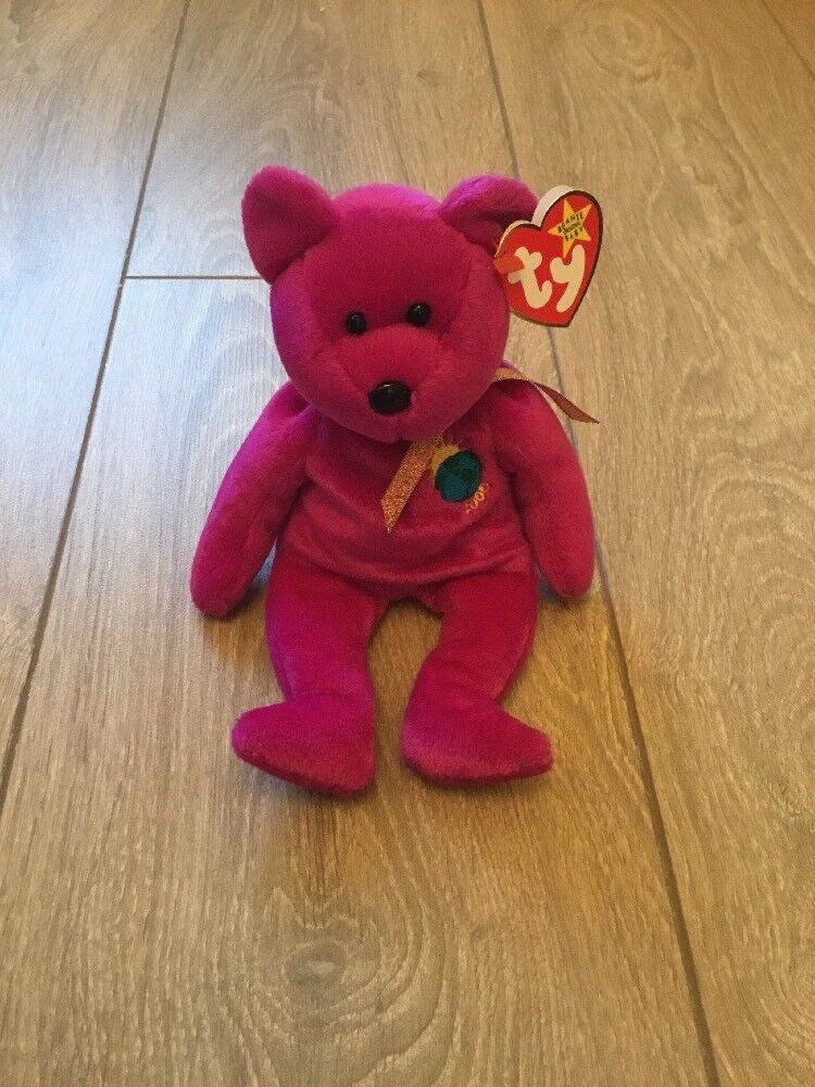 TY  ORIGINAL  beanie baby 'MILLENNIUM' the bear, has  RARE  spelling errors