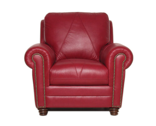 """New Luke Leather /""""Weston/"""" Cherry Red Italian Leather Sofa and Chair"""