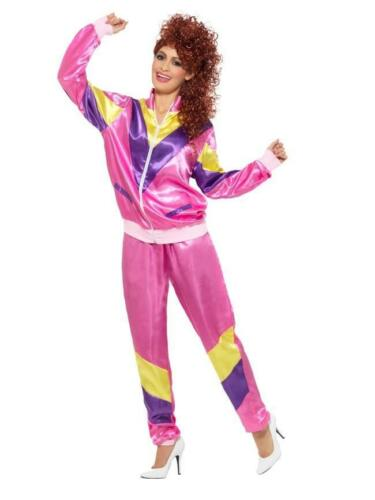LADIES PINK 80s HEIGHT OF FASHION SHELL SUIT FANCY DRESS COSTUME 1980s TRACKSUIT