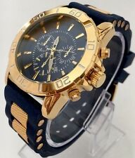 Mens Excellent Watch Luxury Gold Blue Rubber Strap Classic Date Sports Smart New