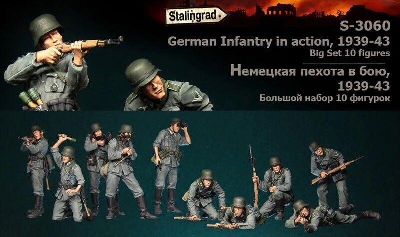 1 35 German Infantry in action 1939-43 Big set 10 figures 1 35 Resin Model Kit