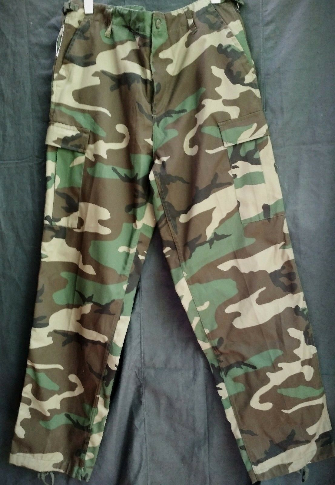 Military Style  Cargo Camo Woodland Fishing Hunt Trousers Pants Size XXL