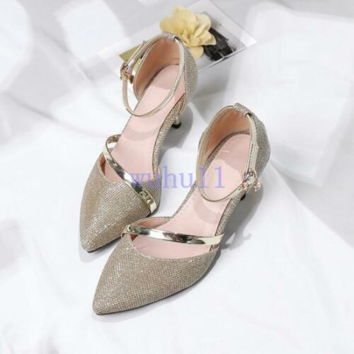 Women/'s Elegant Pointed Toe Ankle Strappy Pumps Party Court Shoes Wedding Solid
