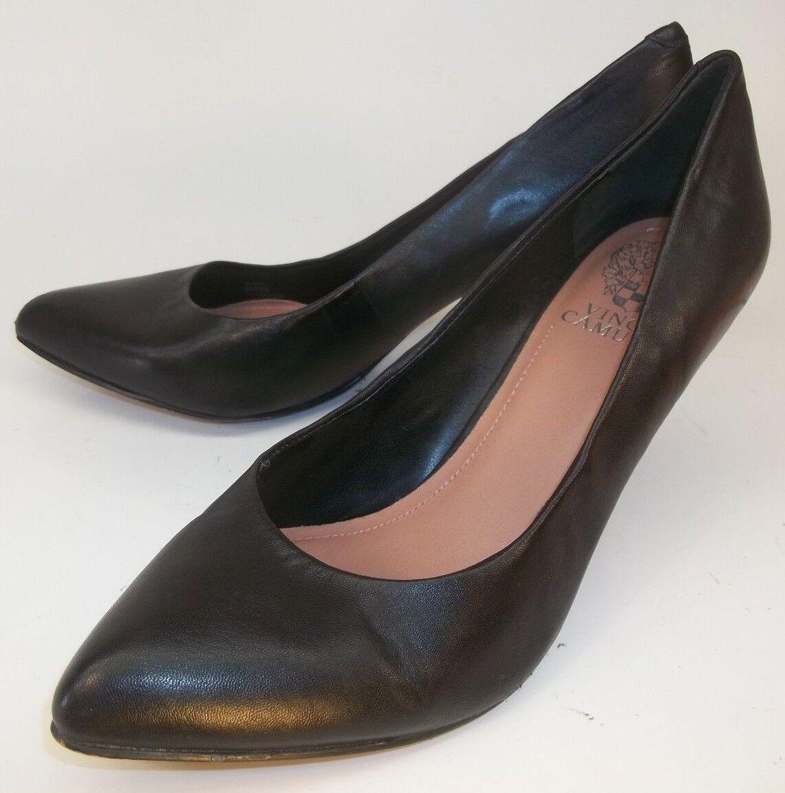 VINCE CAMUTO VICKIY Wo's US 8 M Black Leather Slip-On Heels Dress Work Shoes