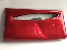 Stuart Weitzman red patent silver leather bag purse evening clutch ok