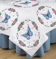 Stamped Embroidery Tobin Butterfly & Roses Quilt Blocks (6) T288090