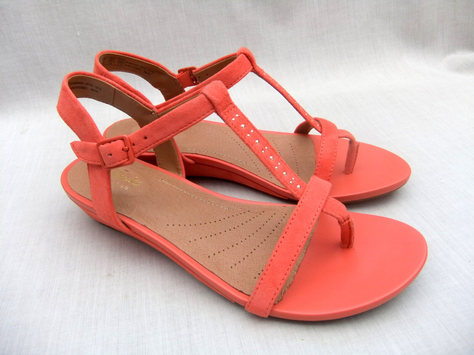NEW CLARKS CORAL PARRAM BLANC WOMENS CORAL CLARKS SUEDE WEDGE SANDALS 3f306b