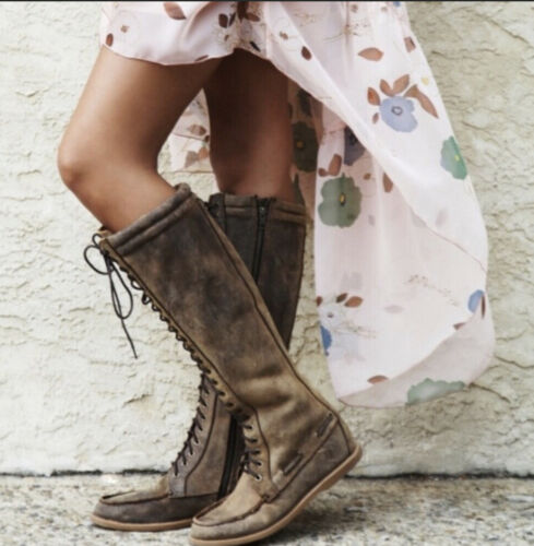 Bed Stu womens 9 Cleary Tall Boat Boots Lace Up Br
