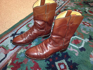 CLASSY-MENS-COWBOY-BOOTS-sz-9-by-JUSTIN-Chestnut-brown-leather-NICELY-BROKEN-IN