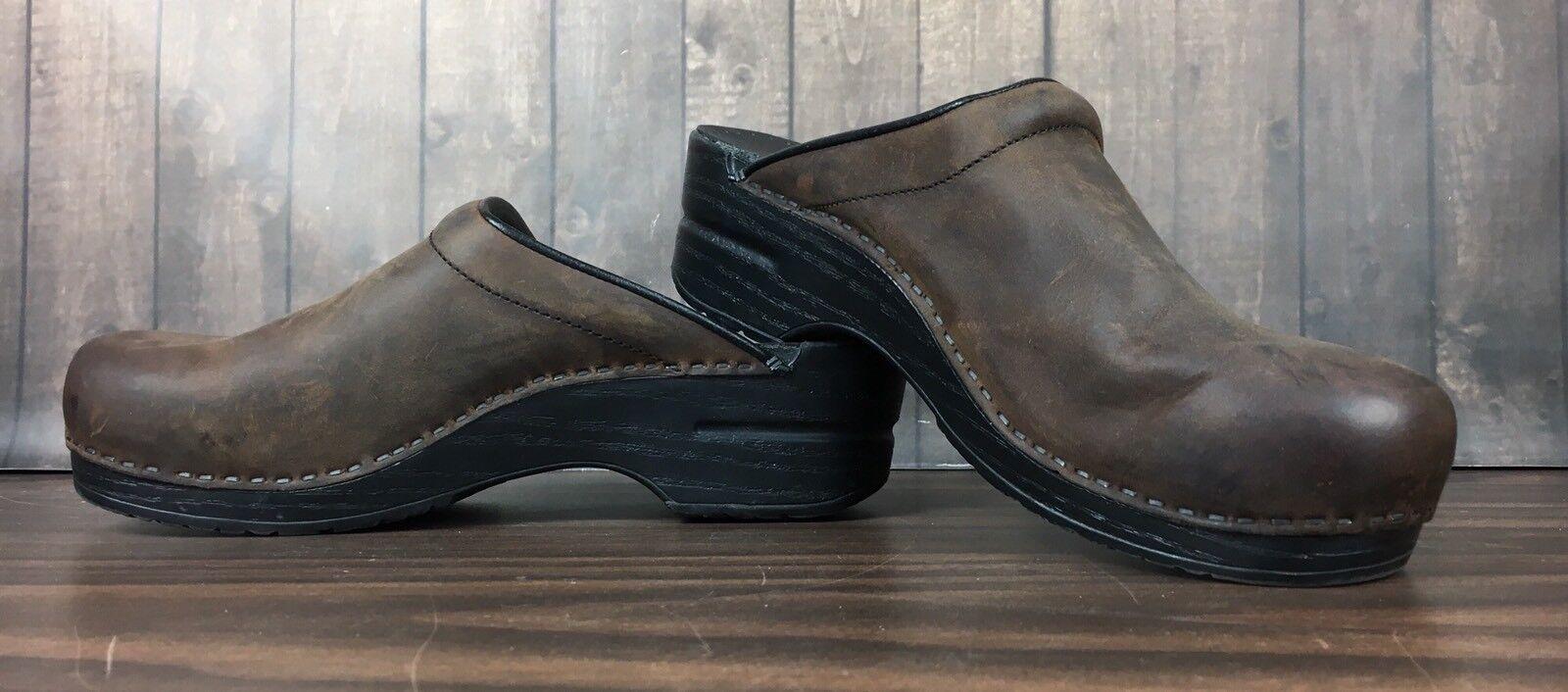 Dansko braun Leather Leather Leather damen Clogs Größe 40 Professional Slip On Nurse Mules a8ba34