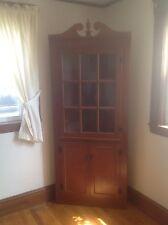 corner cabinet, wood, cherry finish, great condition, good storage, light weight