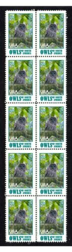 FULVOUS NTH AMERICAN OWLS STRIP OF 10 MINT VIGNETTE STAMPS