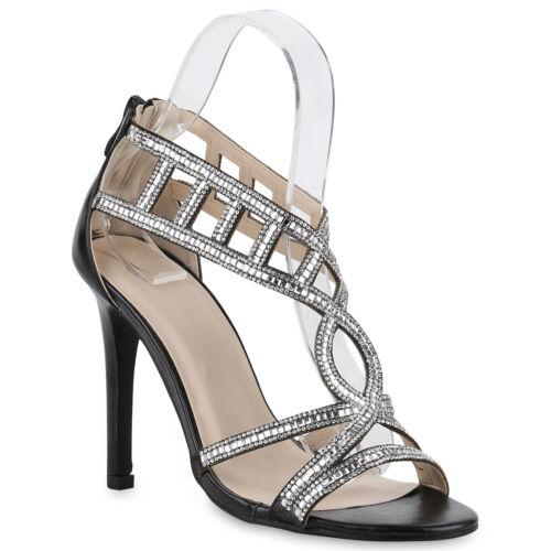 Damen Sandaletten Riemchensandaletten High Heels Schuhe 820358 Trendy Neu