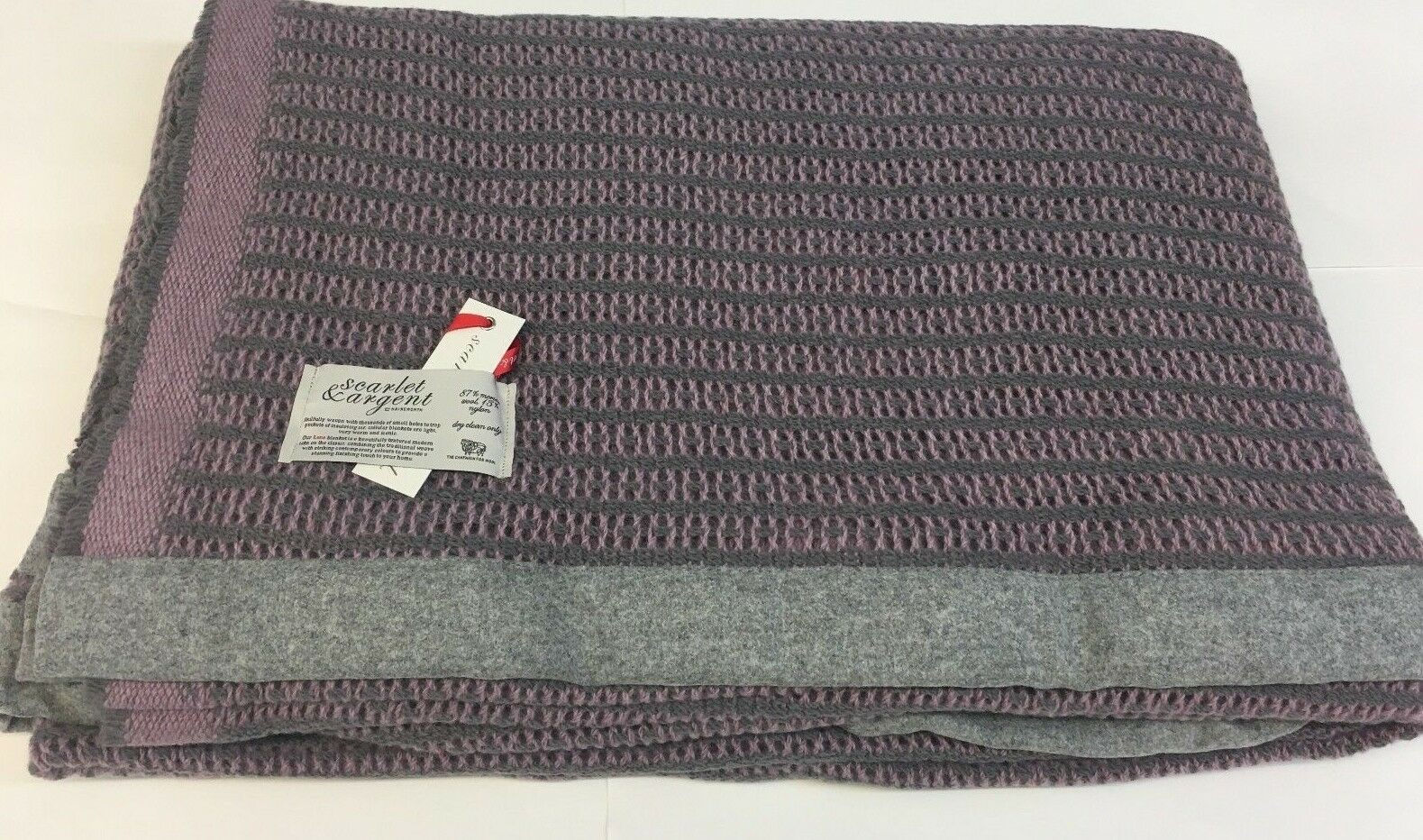 Svoiturelet & Argent Leno thermique tissage Ardoise Mauve Taille Queen, made in England