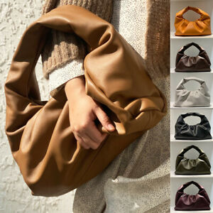 Ruched-Soft-Real-Leather-Shoulder-Pouch-Tote-Bag-Clutch-Purse-Hobo-Baguette-Gift