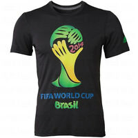 Adidas World Cup Wc 2014 Soccer Official Logo Badge Fan Shirt Black - Multi