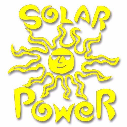 Solar Power Yellow Vinyl Cutout Window Sticker V006