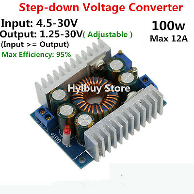 DC/DC 12A Adjustable Voltage Converter Buck 4.5-30V 24V to 3.3V 5V 12v Step Down