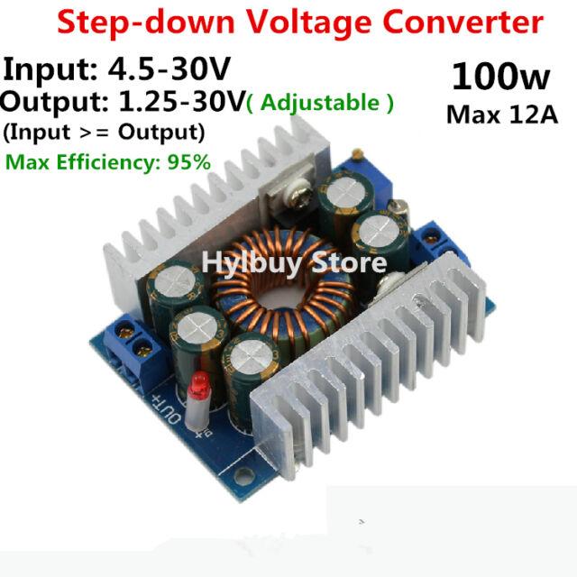 DC/DC 12A Adjustable Voltage Converter Buck 4.5-30V 24V to 3.3V 5V 12v Step Down