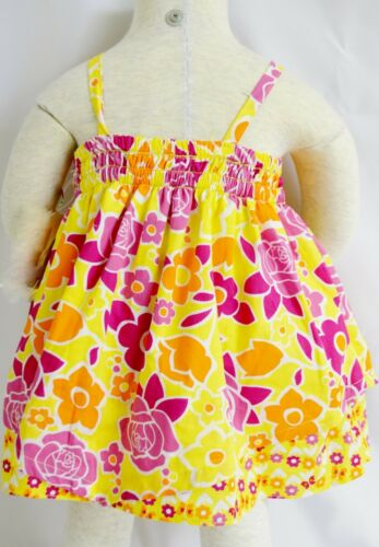 Penelope Mack Girls Dress Pink Orange Yellow Floral Panties Lined Diaper Cover