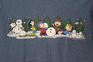 peanuts snowmen christmas t shirt adult m charlie brown. Black Bedroom Furniture Sets. Home Design Ideas