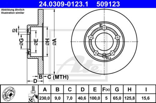 HA für VW BORA ATE Powerdisc Bremsscheiben 1J2 Beläge Hinterachse