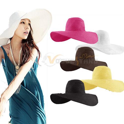 Women Derby Cap Wide Large Brim Floppy Fold Summer Beach Sun Straw Beach Hat V51