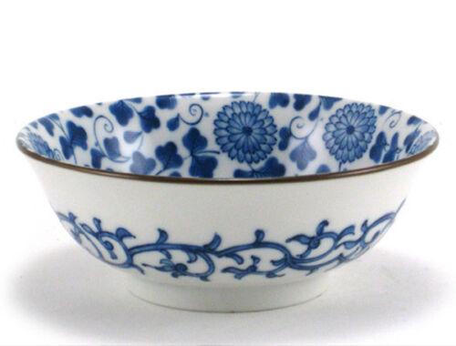 """SET of 2 Japanese Noodle Rice Soup Bowls 7.5/""""D Porcelain Floral Made in Japan"""